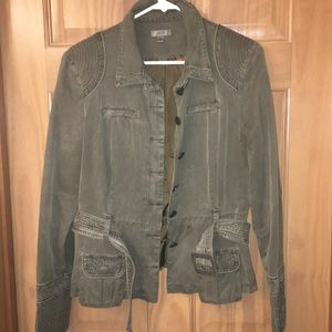 Cache olive green jacket, large